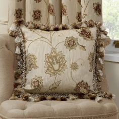 Portofino Floral Tapestry Self Piped Cushion Cover - Natural