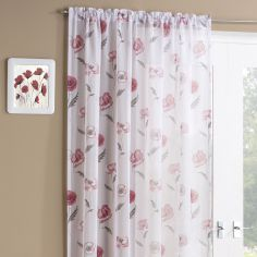 Floral Meadow Slot Top Voile Curtain Panel - Red