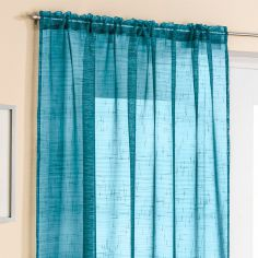 Teal Glitter Voile Curtain Panel