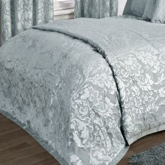 Charleston Jacquard Bedspread - Duck Egg Blue