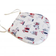 Red & Navy Beach Huts Tie On Seat Pad