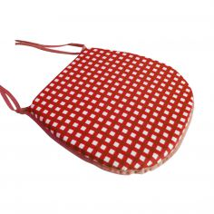 Gingham Check Red Tie On Seat Pad