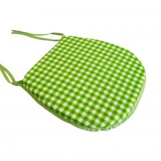 Gingham Check Lime Tie On Seat Pad