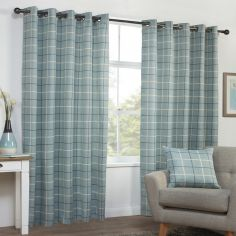 Highland Check Textured Eyelet Ring Top Curtains - Duck Egg Blue