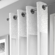 Elegant Madeira Ring Top Voile Curtain Panel - White
