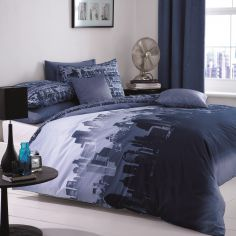 City Skyline Duvet Cover Set - Navy Blue