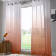 Harmony Modern Ring Top Voile Curtain Panel - Burnt Orange