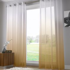 Harmony Modern Ring Top Voile Curtain Panel - Caramel