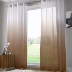 Harmony Modern Ring Top Voile Curtain Panel - Chocolate Brown