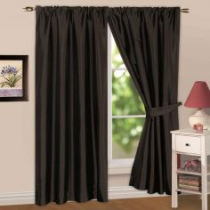 Faux Silk Lined Tape Top Curtains - Black
