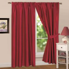 Faux Silk Lined Tape Top Curtains - Red