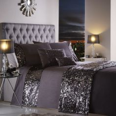 Dazzle Sequin Modern Duvet Cover Set - Charcoal Grey