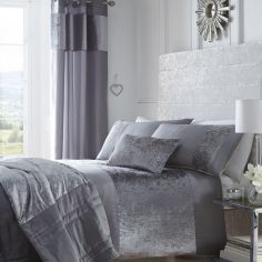 Boulevard Crushed Velvet Duvet Cover Set - Silver Grey