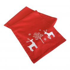 Christmas Noel Red & White Table Runner