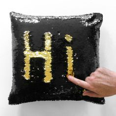 Mermaid Sequin Cushion Cover 17 Inch - Black & Gold