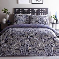 Paisley Reversible Duvet Cover Set - Navy