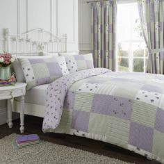 Lilac & Green Reversible Patchwork Duvet Cover Set