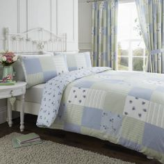 Blue & Green Reversible Patchwork Duvet Cover Set