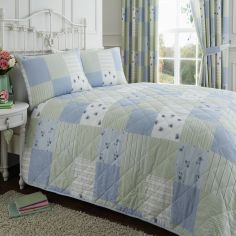 Blue & Green Patchwork Quilted Bedspread