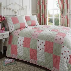 Pink & Green Patchwork Quilted Bedspread