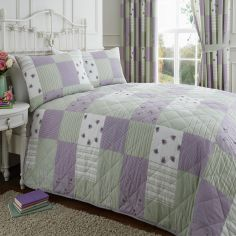 Lilac & Green Patchwork Quilted Bedspread