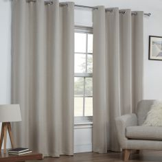 Linen Look Textured Thermal Blackout Ring Top Curtains - Natural