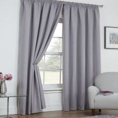 Linen Look Textured Thermal Blackout Tape Top Curtains - Silver Grey
