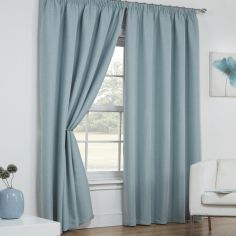 Linen Look Textured Thermal Blackout Tape Top Curtains - Duck Egg Blue