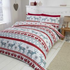 Scandi Stag Thermal Flannelette Duvet Cover Set - Red