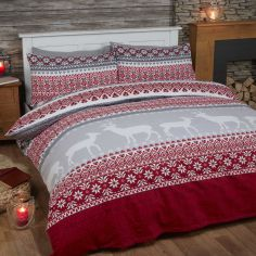 Fairisle Reversible Brushed Cotton Flannelette Duvet Cover Set - Red