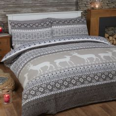 Fairisle Reversible Brushed Cotton Flannelette Duvet Cover Set - Natural