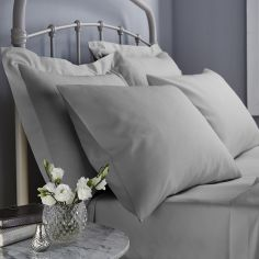 500 Thread Count Cotton Rich Pair of Housewife Pillowcases Grey
