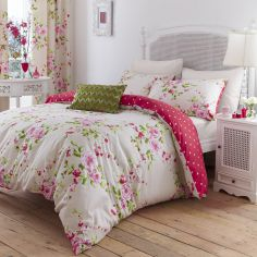 Canterbury Floral Reversible Duvet Cover Set - Red