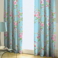 Canterbury Fully Lined Tape Top Floral Curtains - Blue/Multi