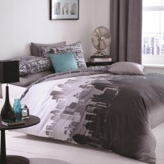 City Scape Grey Duvet Cover Set