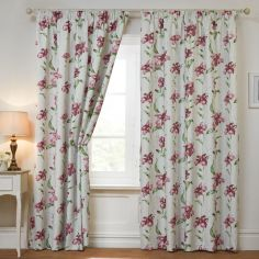 Alexis Floral Blackout Thermal Tape Top Curtains - Cream & Pink