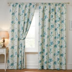 Alexis Floral Blackout Thermal Tape Top Curtains - Cream & Blue