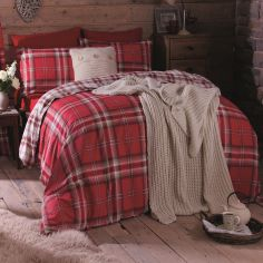 Kelso Tartan Reversible Duvet Cover Set - Red