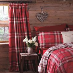 Kelso Tartan Lined Tape Top Curtains - Red