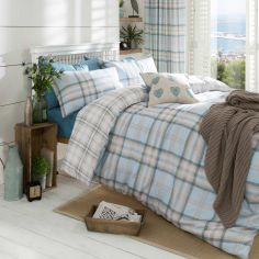 Kelso Tartan Reversible Duvet Cover Set - Duck Egg Blue