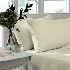 Pair of Non Iron Percale Combed Polycotton Housewife Pillowcases - Cream