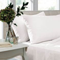 Pair of Non Iron Percale Combed Polycotton Housewife Pillowcases - White