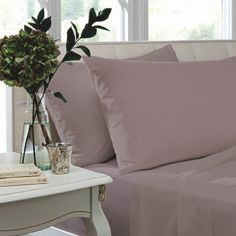 Pair of Non Iron Percale Combed Polycotton Housewife Pillowcases - Heather