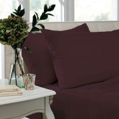Pair of Non Iron Percale Combed Polycotton Housewife Pillowcases - Plum
