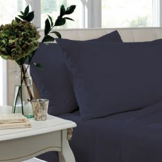 Pair of Non Iron Percale Combed Polycotton Housewife Pillowcases - Navy