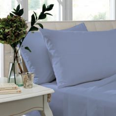 Pair of Non Iron Percale Combed Polycotton Housewife Pillowcases - Cornflower Blue