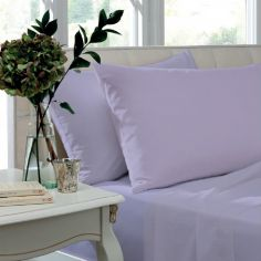 Pair of Non Iron Percale Combed Polycotton Housewife Pillowcases - Lilac