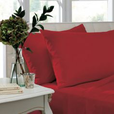 Non Iron Percale Combed Polycotton Housewife Pillowcases - Red
