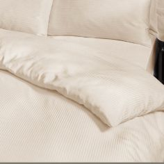 Satin Stripe 300 Thread Count Premium Duvet Cover Set - Cream