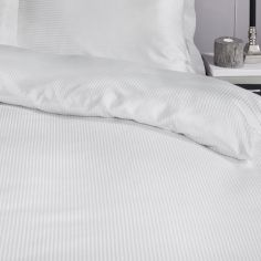 Satin Stripe 300 Thread Count Premium Duvet Cover Set - White